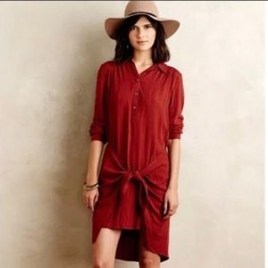 NWT Maeve Anthropologie rust red tie front dress